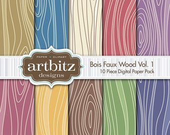 "Bois, Vol. 1, 10 Piece Faux Wood Texture Digital Scrapbooking Paper Pack, 12""x12"", 300 dpi .jpg, Instand Download!"
