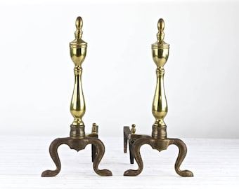 Vintage Andirons Brass Andirons Vintage Brass Adirons Federal Style Andirons Hearth Decor Fireplace Andirons Firedogs Vintage Firedogs