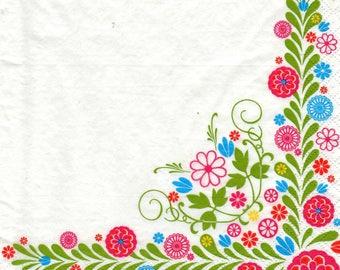 STYLIZED flowers pattern 4 X 1 paper lunch size napkin 546