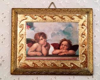 Cherub Florentine Gold Gilt Wall Decor - Angels Wall Picture - Small Decor - Gold Gilt - Sweet Romantic Cottage Decor