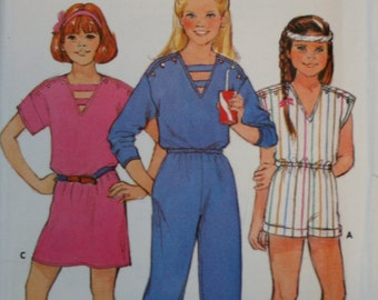 Butterick 6575 Girls Vintage Dress and Jumpsuit Sewing Pattern Uncut Size 7-8-10