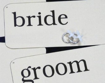 14 big WEDDING bride groom Flash Cards- PDF bridal party photographer signs words phrase picture