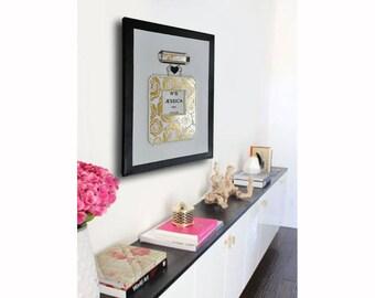Perfume canvas art , anniversary gift, birthday gift 12x16 inches