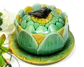 19th C. Antique Majolica Covered Sauce Bowl Sunflower with Bird Finial