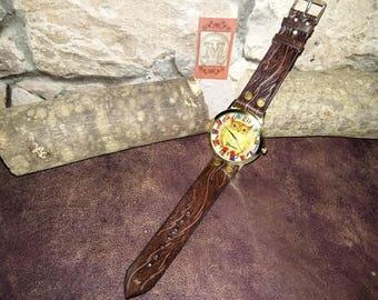 "Watch ""Owl"" genuine leather strap"