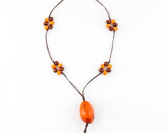 Adjustable Multicolor Orange & Brown Long Tagua Nut Jewelry Elegant Upscale Casual Modern Tropical Organic Vegan Necklace for Woman