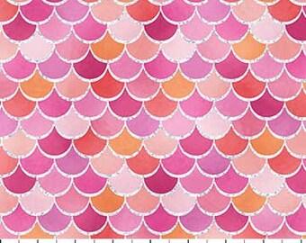 Écailles de sirène rose paillettes de sirène souhaits Collection Northcott tissu