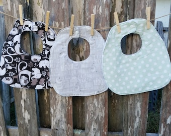 Set of Three Traditional Bibs - Neutral Tones and Prints