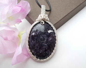 Lepidolite pendant , wire wrapped pendant , wire wrapped jewelry , gemstone pendant , wire jewelry , wire pendant , silver plated jewelry