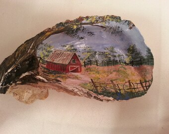 Painted Oyster Shell with barn scene