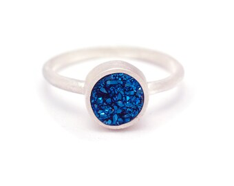 Royal Blue Druzy Quartz Ring - Sterling Silver - Bezel Set - Druzy / Drusy Quartz - Available in sizes 4.5, 5, 5.5, 6, 6.5, 7, 7.5 and 8
