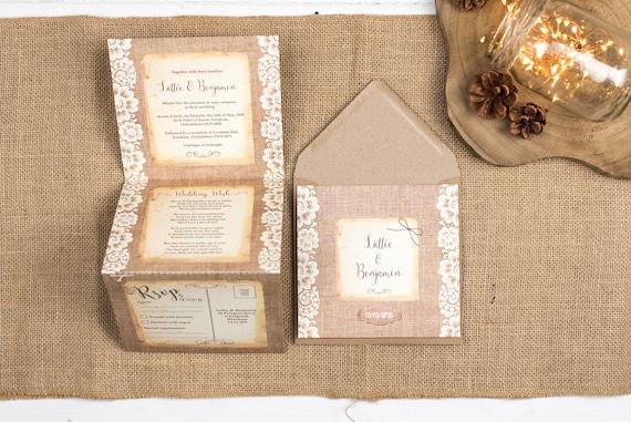 Rustic Wedding Invitation - Double-Folded Burlap And Lace (portrait)