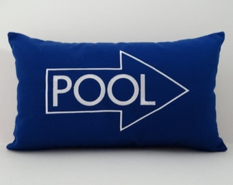PILLOW cover| Pool Pillow | Sunbrella Pillow | Beach Pillow | Embroidered Pillow | Cabana Pillow | Swimming Pool Decor | Lumbar Pillow