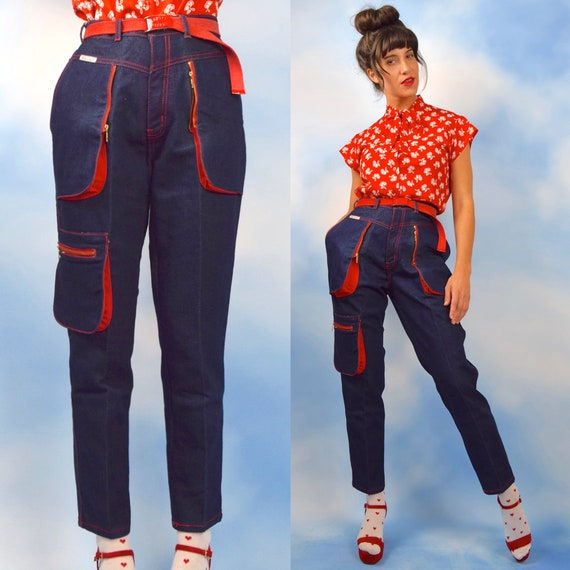 Vintage 80s 90s High Waisted Cigarette Leg Cargo Jeans (size medium, large)