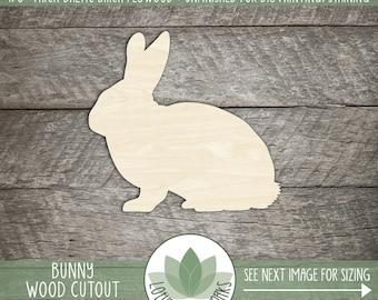Wood Bunny Shape, Unfinished Wood Bunny Rabbit Laser Cut Shape, DIY Craft Supply, Many Size Options, Blank Wood Shapes