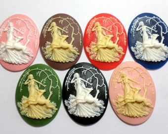 7 different Colors of 40x30 mm Victorian Goddess Diana and Deer Cameos, Great for Pendants or Bracelets, Very Nice