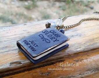 Mini Book necklace Book lovers jewelry Miniature book pendant Custom Tiny book Personalized Book necklace custom book necklace Romantic gift