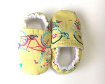 BICYCLE baby shoes, yellow baby shoes, yellow baby booties, yellow booties, baby girl shoes, yellow baby gift, tiny hearts shoes