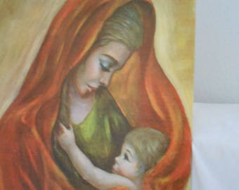 Christmas Madonna and Child Print Art Mary and Child Jesus Religious wall Catholic Print Religious Picture