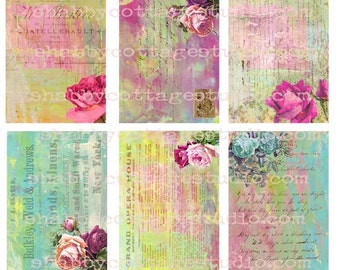 INSTANT DOWNLOAD Digital Collage Sheet  ATC Backgrounds Tags Roses & Ephemera
