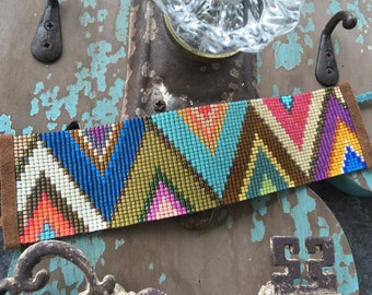 SALE Multi color abstract wide beaded leather bracelet - Alpine - colorful fringe tassel friendship bracelet boho by slashKnots