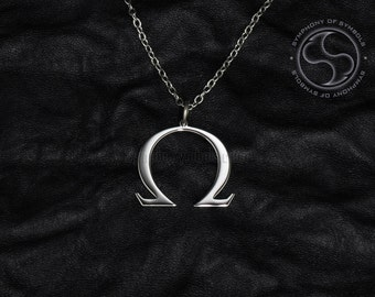 Omega Pendant Greek Symbol Stainless Steel Jewelry Capital Letter Necklace Keychain Uppercase Logo Emblem Charm Sign Medallion Jewellery