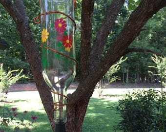 Upcycled Wine Bottle Hummingbird Feeder