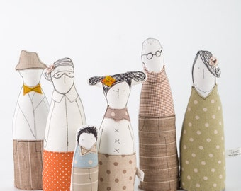 Reserved for Noa - Family  portrait , art doll - grandparents, parents and childrens dressed in natural earth tones ,