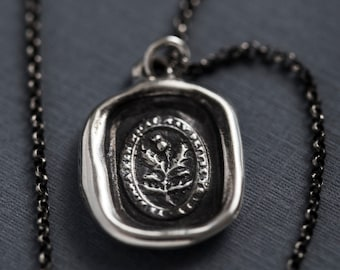 Thistle Wax Seal Necklace- Believe in yourself - Scottish -193