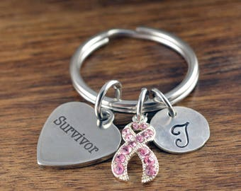 Breast Cancer Keychain, Breast Cancer Gifts, Breast Cancer Jewelry, Survivor Jewelry, Personalized Survivor Jewelry, Recovery Gift, Initial