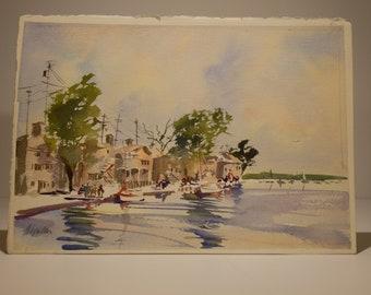 Fishing Village - Watercolor painting