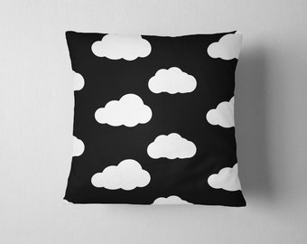 Black and white cloud pattern throw pillow