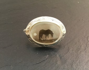Fumage brooch, horse, horse brooch, silver brooch, fumage, Sterling silver brooch, mother of pearl brooch, oval brooch
