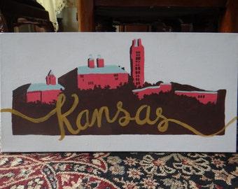 University of Kansas Skyline Painted Canvas