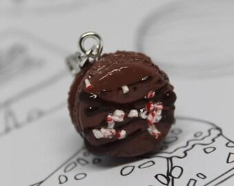 Hot Chocolate Peppermint Cocoa Macaroon Bracelet Charm/ Fake Dessert Food/ Miniature Polymer Clay