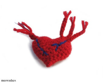 CAT TOY HEART anatomical valentine organic catnip crocheted toys red valentines day