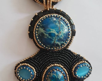 Embroidered necklace ocean Jasper