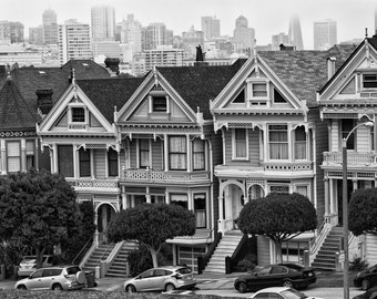 San Francisco,Painted Ladies,Skyline,Black and White,Row Houses,Downtown San Francisco,Wall Art,Home Decor,Office Decor,Canvas Option