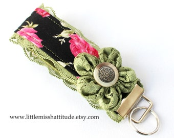 Fabric Keychain , Fabric Keychain Wristlet , Fabric Keychain Fob , Wristlet Key Fob , Fabric Key Fob , Key chain , Key Chain ,  Landyard