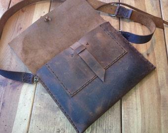 iPad pro 9.7 leather crossbody bag, Custom leather iPad pro keyboard case crossbody clutch case, handmade brown leather iPad holder bag