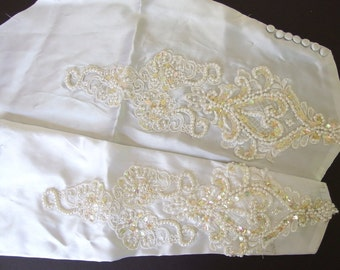 Vintage White Lace Wedding Dress Sleeves - Pearled and Iridescent Sequined - Recycled