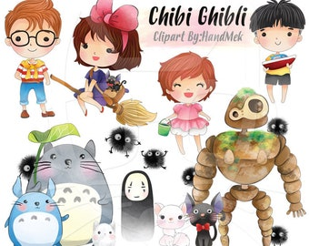 Cute Ghibi Ghibi character clipart, Instant Download,PNG file - 300 dpi