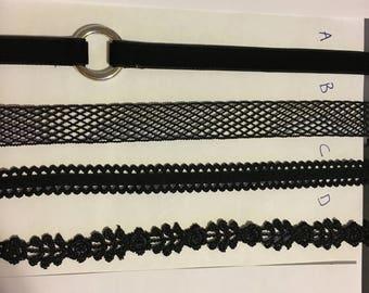 Black Choker - Lace Choker - Ring Choker - Bow Choker - Black Lace Choker - Black Bow Choker - Choker Necklace - Black Choker Necklace