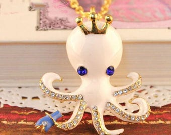 Pendant painted and gold Octopus pendant size: 50 X 55 Mm