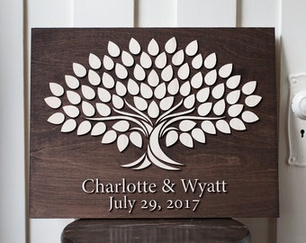 Wedding Guestbook | Alternative Guestbook Signing 14x18  Tree | Alternative Wedding Guestbook | 3d Wood Tree  signing Guestbook |