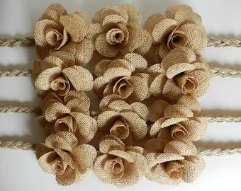 Set of 4, Curtain tie back,Drape holdback, Burlap flower curtain tie backs, Shabby chic curtains, Nursery decor, Burlap curtain tie back