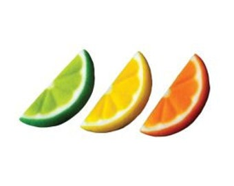 """Fruit Slice Assort Sugar Dec-Ons-1 3/4"""" long and come in a package of 12 with four of each color."""