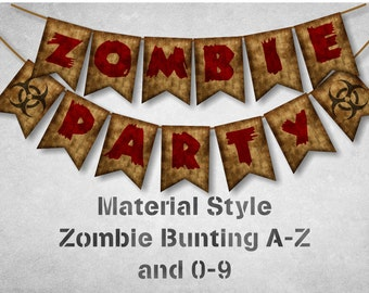 Zombie Party Bunting A to Z and 0-9 with Bio-hazard sign - Instant Download