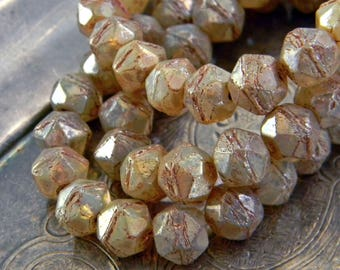 Antique Lace (20) -Czech Glass English Cut Rounds 8mm