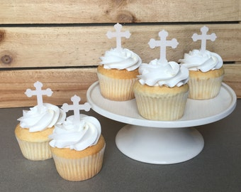 Cross Cupcake Toppers - Religious Cake Decorations - Thin Edible Paper Cupcake Toppers - Cake Decorations - please Read Item Details